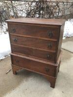 Vintage Rustic Primitive Antique Wooden Child Dresser Distressed.