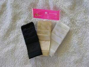 2 Hook Bra Extender pack of 3 Black, White, Nude