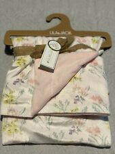NEW Lila & Jack NY Baby Blanket White Floral - Reversible Pink On Other Side