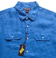 Men's MICHAEL KORS Ocean Sea Blue S/S Linen Pocket Shirt XL X-Large NWT NEW WoW!