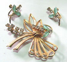 Vintage Pin & Earrings Pale Jade Green Stones Rhinestones Goldtone Free Form