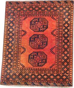 Oriental Carpet Old handmade Afghan wool rug in rusty gold colour  4.5 x 3.6 FT