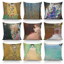 Painting By Gustav Klimt High Quality Silk Pillowcase Sofa Decor Cushion Cover