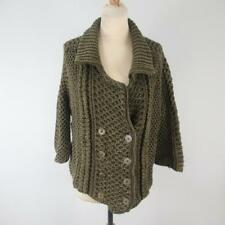 Stylish Chloé Olive Green Chunky Knit Buttoned Cardigan with Ribbed Neck - Small