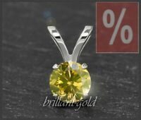 Diamant 585 Gold Damen Anhänger, 0,18ct Brillant in fancy yellow gelb, Weißgold