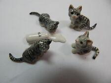 Porcelain Miniature Animal Cat GrayTabby Kittens #419 Last set Closing