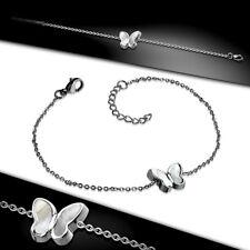 Women's Wrist Band Chain Bracelet Stainless Steel Butterfly