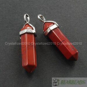 Natural Gemstones Hexagonal Pointed Reiki Chakra Healing Pendant Necklaces Beads