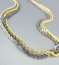 CLASSIC 3 PC 18kt Gold Silver Antique Plated Diamond-Cut Rope Chains Necklace
