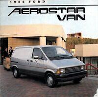 1986 Ford Aerostar Cargo Van 22-page Original Sales Brochure Catalog