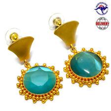 "Blue Fire Monalisa Gemstone 9 Ct Gold Plated Copper Handmade Earring 2.13"""