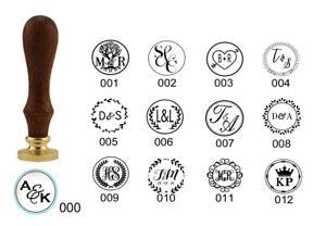 Personalised Initials Wax Seal Stamp Wooden Handle Wedding Invitations Custom
