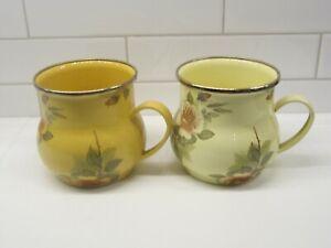 2 1995 Camp Mackenzie Childs Rose Floral Enamel Coffee Tea Mugs Cups
