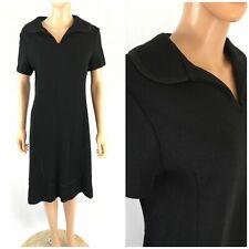 Vintage 60s L'Aiglon Black Dress Wiggle Midi Dress Collar Party Wool Knit M/L