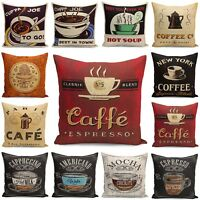 "18"" Vintage/Retro Coffee Cup Pillowcases Home Décor Cotton Linen Cushion Cover"