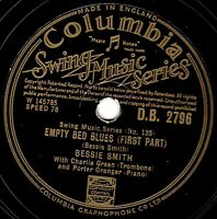 CLASSIC BESSIE SMITH 78  EMPTY BED BLUES (Parts 1 & 2) UK COLUMBIA DB 2796 E-/V+