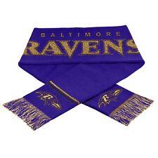 "Baltimore Ravens Scarf Knit Winter Neck NEW 65"" - Metallic Thread Gold Logo"