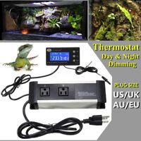 Thermostat Temperatur Regler Tag & Nacht Dimmen Sockel für Reptil Aquarium