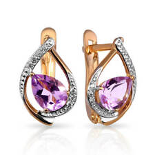 Earrings NEW Russian Solid Rose Gold 14K 585 fine jewelry purple amethyst 2.31g