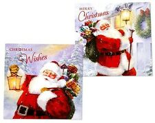 PACK OF 12 SANTA CHRISTMAS CARDS IN 2 DIFFERENT DESIGNS - BRAND NEW