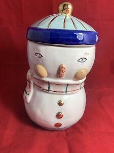 Anthropologie Bird Can Fox Snowman Cookie Jar