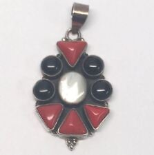 Coral & Mop Pendant Mexico Sterling Silver Onyx,