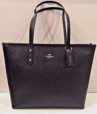 New Coach 58846 City Zip Tote Crossgrain Leather Handbag Black