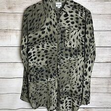 0311127b0bb991 Reiss Womens Blouse Size 4 Animal Print Long Sleeve Button Up Front Pocket  Work