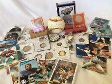 #3JUNK DRAWER-LOT OF COLLECTIBLE-SILVER COINS+WATCHES+SIGNED BASEBALL+SPORTCARDS