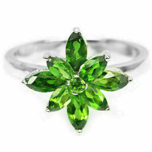 Ring Green Chrome Diopside Genuine Gems Sterling Silver Cluster Size N 1/2  US 7