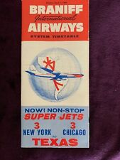 Braniff Airways March 1963 vintage fold out System TimeTable,  w free shipping