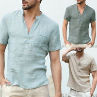 Men Summer New Fashion Short Sleeve V-Neck Slim Fit Linen T-Shirt Top Shirt