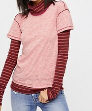 Free People XS Washed Red Combo Striped Turtleneck Top