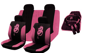 PINK Car Seat Covers Protectors Universal Washable Dog Pet Front Rear Full Set