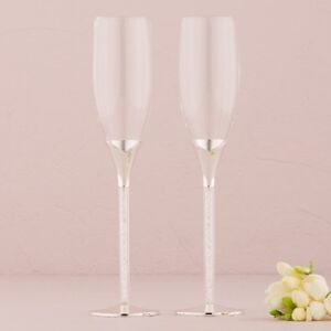 Champagne Flutes with Sparkly Gems in the Stems Pack of 2