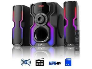 beFree 2.1 Channel Multimedia Speaker Shelf Stereo System Lights Bluetooth USB