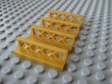 Lego Lot of 4 Pearl Gold 1x4x1 Lattice Fence Pieces City Town