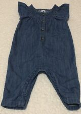 Used Baby Girls Old Navy Denim Jumpsuit Size 3-6 Months