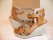 LUCKY BRAND Leander Brown Leather Wedge Platform Sandal  Size 9.5 NIB $99