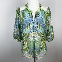Anthropologie Fig and Flower Womens Floral Boho Blouse Top Lace Size Small Green