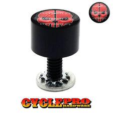Smooth Black Billet Seat Bolt 96-UP Harley Touring RED SPLIT SKULL - 198