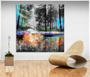 Wald Bäume Natur Buntes Bild Leinwand Abstrakte Kunst Bilder Wandbilder D2160
