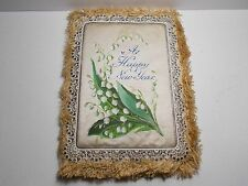 ANTIQUE VICTORIAN NEW YEAR CARD MULLORD  LILY OF THE VALLEY SILK POLYCHROME