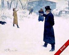 ONEGIN LENSKY 1800'S ERA PISTOL DUEL IN WINTER PAINTING REAL CANVASART PRINT