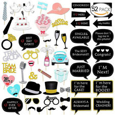 UK 52PCS Wedding Photo Booth Props Engagement Photography Hen Party Decor Selfie