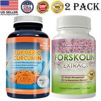 Turmeric Curcuminoids Caps Forskolin Extract Fat Burn Weight Loss Softgels 2 PK