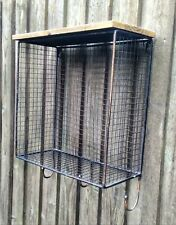 Industrial Style Wire Cage Wall Shelf Unit with Hooks Vintage