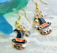 Halloween Enamel Kitty Earrings with Black Witch Hat Beads Dangle Pierced New