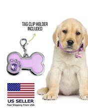 Glitter Bone Print Pet Id Tags Custom Engraved Dog Cat Tag Personalized