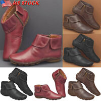 US Womens Vintage PU Leather Ankle Boots Ladies Flat Casual Zipper Comfort Shoes